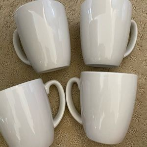 4 white Corelle mugs cups new stoneware 11oz
